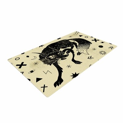 Anya Volk Wolf Illustration Beige Area Rug