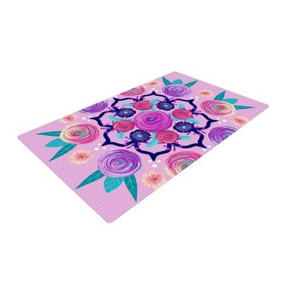Anneline Sophia Expressive Blooms Mandala Floral Pink Area Rug Rug Size: 4 x 6