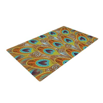 Art Love Passion Peacock Pattern Brown/Teal Area Rug Rug Size: 4 x 6