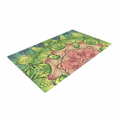 Art Love Passion Pink Celtic Flower Green/Pink Area Rug
