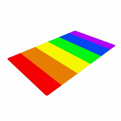 Bruce Stanfield Rainbow Stripes Digital Red/Yellow Area Rug