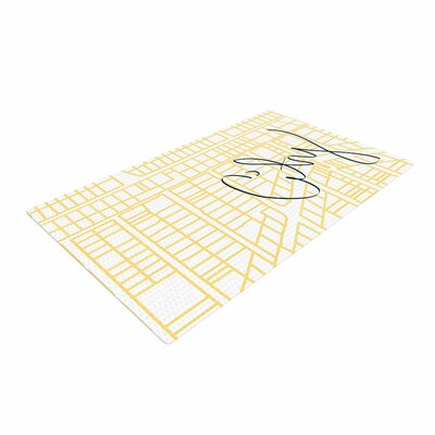Love Midge City Streets And Parcel Maps Travel Yellow Area Rug