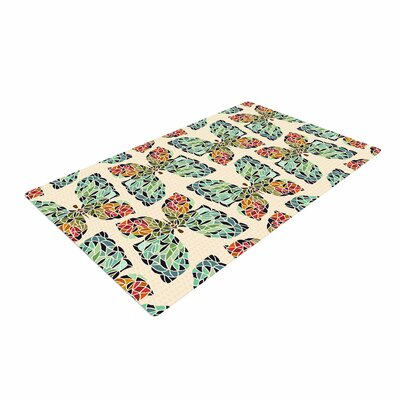 Art Love Passion Butterfly Pattern Green/Red Area Rug