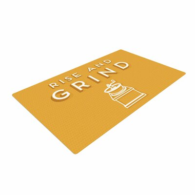 Busy Bree Rise and Grind Illustration Gold Area Rug Rug Size: 4 x 6
