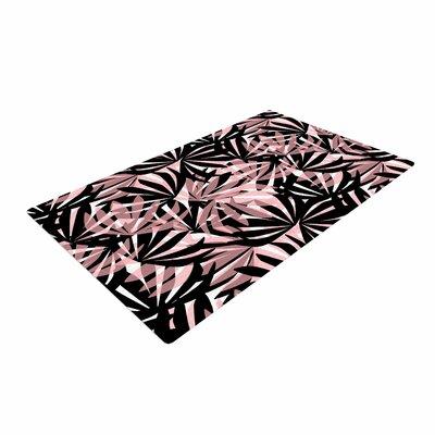 Amy Reber Palms Leaves Pattern Black/Pink Area Rug