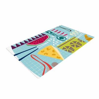 Agnes Schugardt Dinner Out Food Vintage Blue/Yellow Area Rug