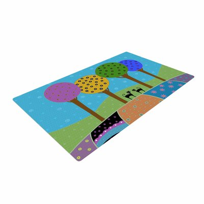 Cristina bianco Design Cats and Colorful Landscape Illustration Pink Area Rug
