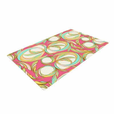 Amy Reber Cirle Sings Pink/Yellow Area Rug