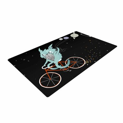Anya Volk Bunny in Space Fantasy Red Area Rug