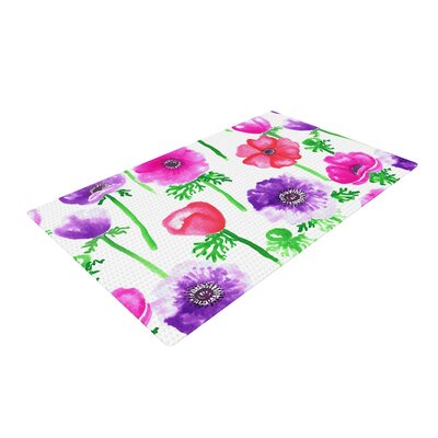 Anneline Sophia Anemones Flowers Pink Area Rug Rug Size: 4 x 6