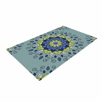 Cristina bianco Design Blue and Green Mandala Geometric Blue Area Rug