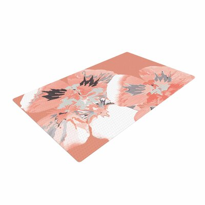 Love Midge Graphic Flower Nasturtium Coral Floral Pink Area Rug