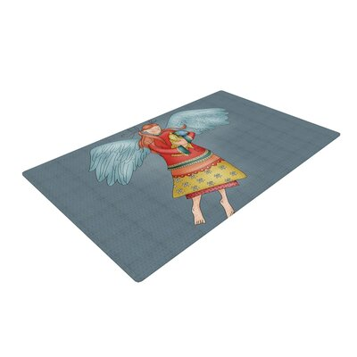 Carina Povarchik Guardian Angel Gray/Red Area Rug Rug Size: 2 x 3