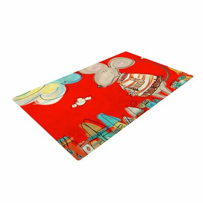 Carina Povarchik Urban Mouse  Red Teal/Yellow Area Rug