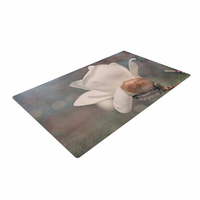 Angie Turner White Magnolia Digital Floral White/Gray Area Rug