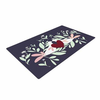 Mayacoa Studio Love Nest Animals Red Area Rug Rug Size: 2 x 3