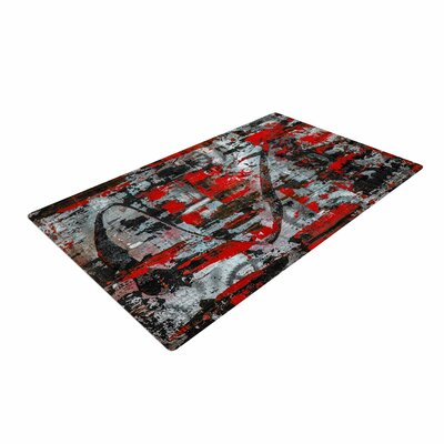 Bruce Stanfield Zinger in Red Abstract Black Area Rug