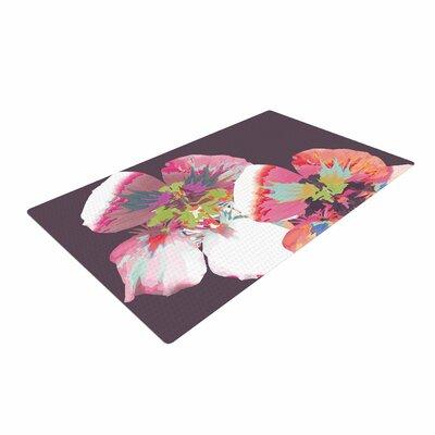 Love Midge Graphic Flower Nasturtium Floral Lavender Area Rug