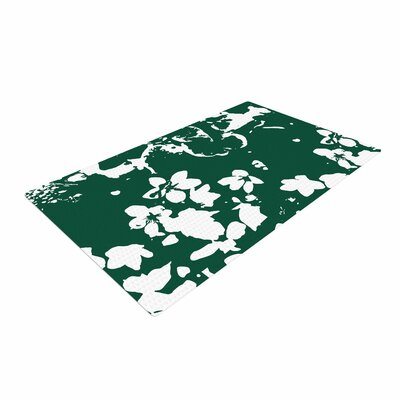 Love Midge Helena Floral Green Abstract White Area Rug