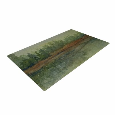 Cyndi Steen Green And Gold Reflections Green Watercolor Area Rug