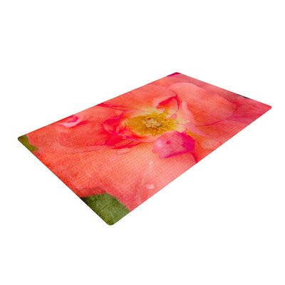 Catherine McDonald Pink Rose Flower Red Area Rug