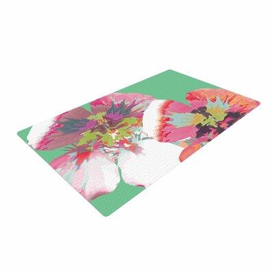 Love Midge Graphic Flower Nasturtium Mint Green/Magenta Area Rug