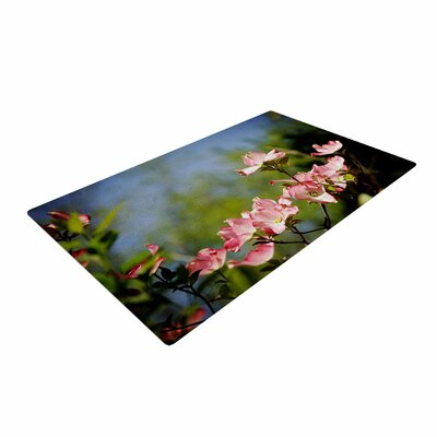 Angie Turner Pink Dogwood Digital Floral Blue/Pink Area Rug