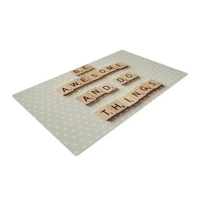 Cristina Mitchell Be Awesome And Do Things Wooden Letters Blue/Brown Area Rug