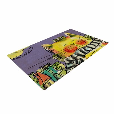 Carina Povarchik Urban Cat With Scarf Illustration Yellow Area Rug