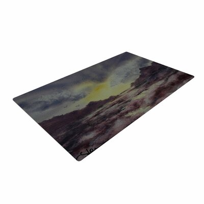 Cyndi Steen Crashing Waves Purple/Yellow Area Rug Rug Size: 4 x 6