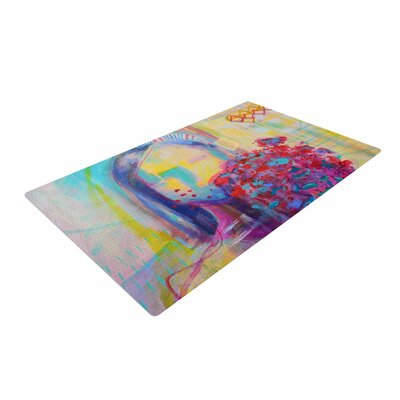 Cecibd Girl With Plants III Abstract Painting Yellow/Red Area Rug