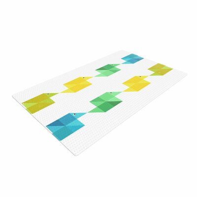 Cvetelina Todorova Duck Pattern White/Teal /Green Area Rug
