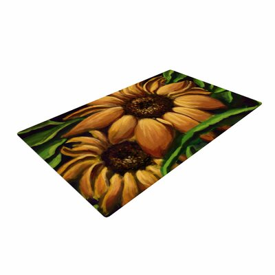 Cyndi Steen Sunflower Days Floral Yellow Area Rug
