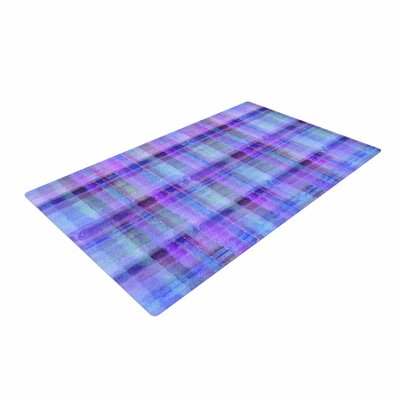 Carolyn Greifeld Watercolor Blue Plaid Pattern Purple Area Rug