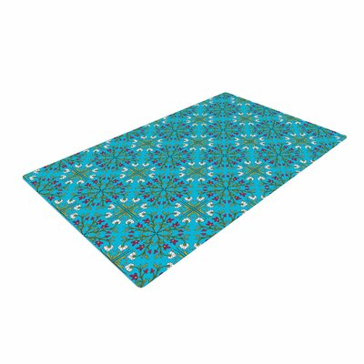 Mayacoa Studio Morrocan Tile in Blue Geometric Floral Blue Area Rug