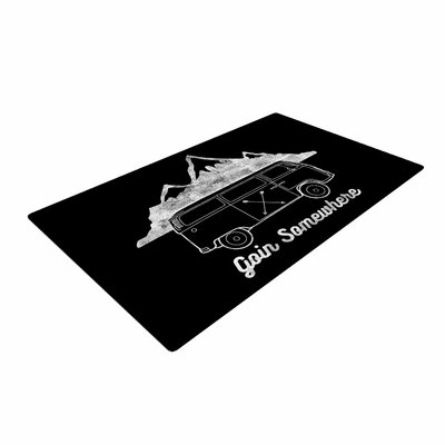 Draper Goin Somewhere B Typography Black Area Rug