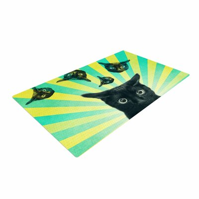 Cvetelina Todorova Cat Explosion Yellow/Green Area Rug