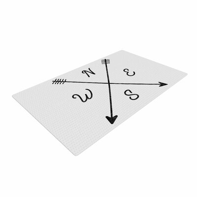 Draper Cardinal Direction W Illustration White Area Rug