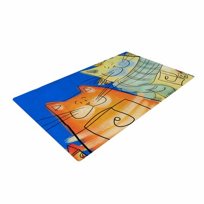 Carina Povarchik Happy Cats in the City Blue/Orange Area Rug
