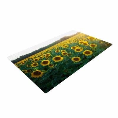 Chelsea Victoria Sunflower Fields Floral Photography Yellow Area Rug
