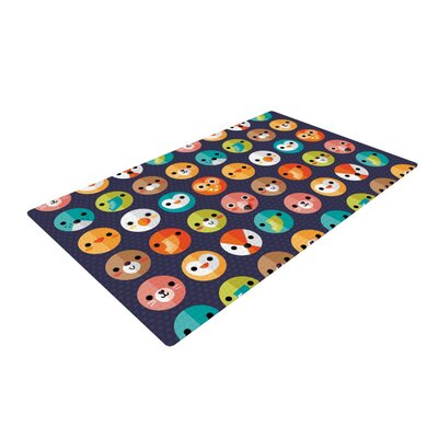 Daisy Beatrice Smiley Faces Repeat Animal Pattern Dark Purple Area Rug