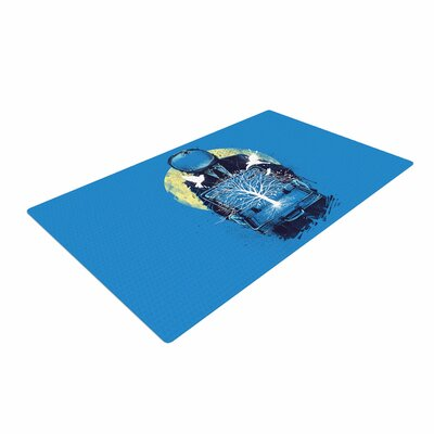 Digital Carbine a New Life Illustration Blue Area Rug