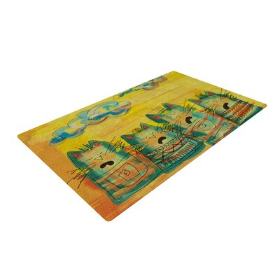 Carina Povarchik Singing Cats Yellow/Orange Area Rug Rug Size: 2 x 3