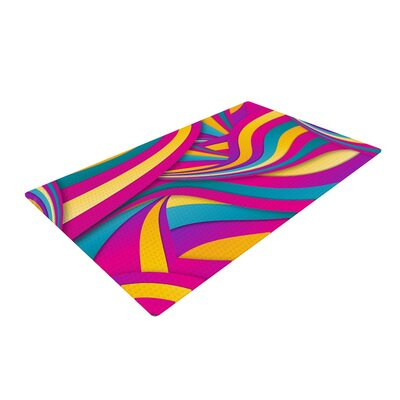 Danny Ivan Swirls Everywhere Pink/Teal Area Rug Rug Size: 2 x 3