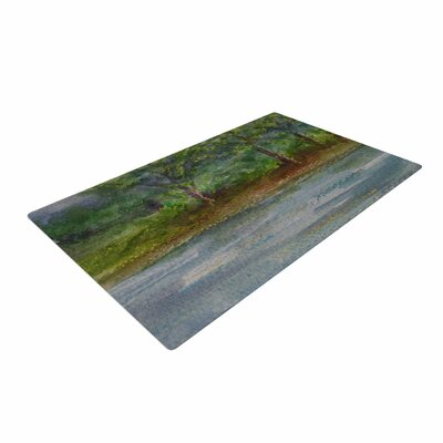 Cyndi Steen Storm on the Pond Blue/Green Area Rug