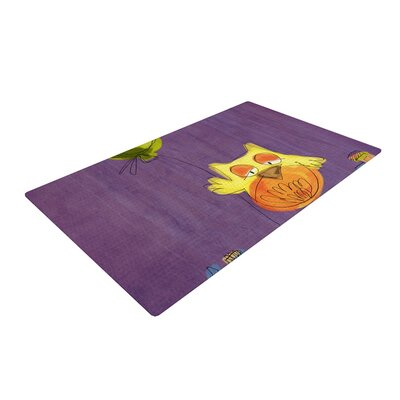 Carina Povarchik Owl Balloon Purple/Orange Area Rug Rug Size: 4 x 6