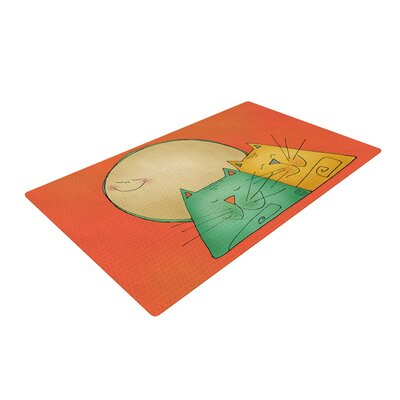Carina Povarchik 2 Gatos Romance Love Cats Orange Area Rug Rug Size: 2 x 3