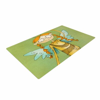 Carina Povarchik Urban Fairy Girl Kids Green Area Rug Rug Size: 4 x 6