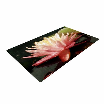 Cyndi Steen Painted Water Lily Floral Pink Area Rug