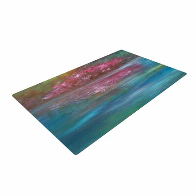 Cyndi Steen Bougainvillea Reflections Blue/Pink Area Rug